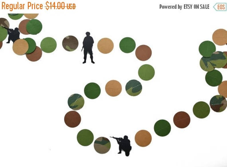 Army Men Camo Paper Military Party Garland image 0