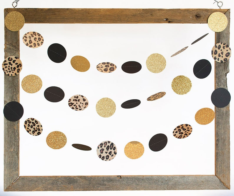Cheetah Black and Glittery Gold Party Decor Leopard Garland image 0