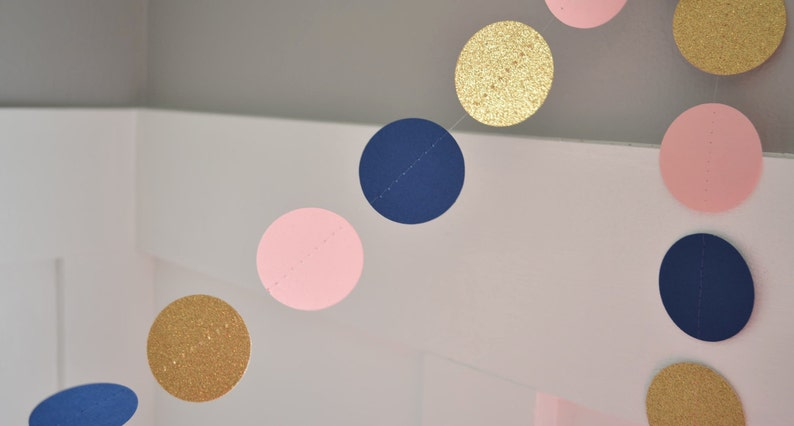 Navy Blue Pale Pink and Gold Glitter Paper Garland Birthday image 0