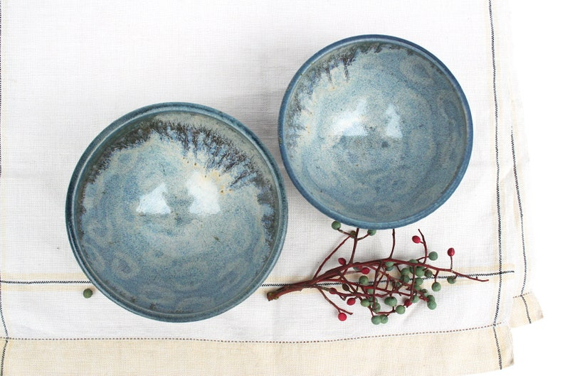 dots Pair of stormy blue and lavender blue soup bowls two Slate blue circles mixing hand decorated cereal sturdy. salad light blue