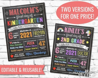 Chalkboard Back to School Sign, First Day or Last Day, Editable and Reusable, Boy or Girl, 11x14 / 8.5x11 Printable, Instant Edit & Download