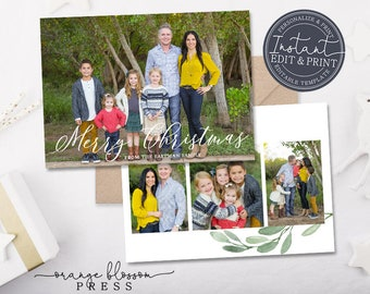 Photo Christmas Card, Watercolor Holiday Card, White, Branches, Full Photo, Printable Digital Download or Printed, Instant Edit & Download