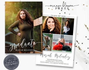 Photo Graduation Announcement, Script Grad Invitation, Simple Modern Clean, Graduation Party, Digital or Printed, Instant Edit & Download