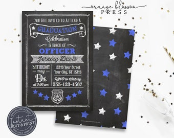 Police Academy Graduation Invitation, Customize for Sheriff Deputy, Corrections Officer, State Trooper, Chalkboard, Instant Edit & Download
