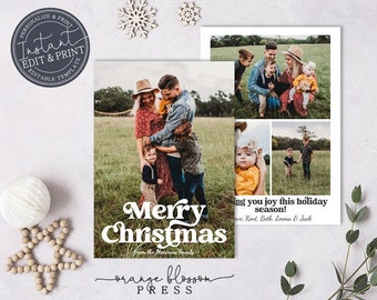Editable Photo Christmas Card, Vintage Holiday Card, Retro Font, Collage, Personalized, Digital or Printed Options, Instant Edit & Download