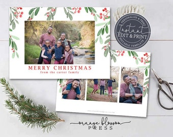 Photo Christmas Card, Watercolor Mistletoe Holiday Card, White, Branches, Printable Digital Download or Printed, Instant Edit & Download