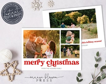 Editable Photo Christmas Card, Holiday Card, Vintage Retro Font, Collage, Personalized, Digital or Printed Options, Instant Edit & Download