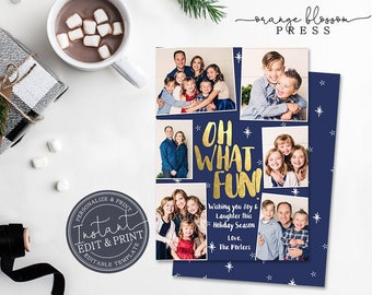 Oh What Fun Photo Christmas Card, Holiday Card, Faux Gold Foil, Multiple 6 Photos, Digital or Printed, Instant Edit & Download