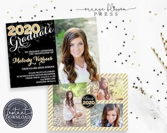 Glitter Graduation Announcement, Custom Photo Graduation Invitation, Gold Elegant Editable, Modern Multiple Photos, Instant Edit & Download