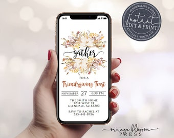 Thanksgiving Dinner Invitation, Friendsgiving Send by Phone, E-vite, Text, Email, Virtual Gather Invite, Electronic, Instant Edit & Download