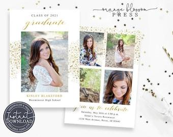 Modern Glitter Graduation Announcement, Custom Photo Grad Invitation, Sparkle Gold Foil Graduation, Multiple Photos, Instant Edit & Download
