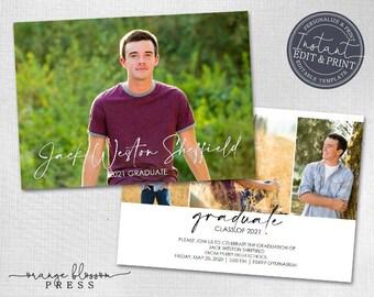 Photo Graduation Announcement, Custom Photo Grad Invitation, Simple, Modern, Clean Design, Printed or Digital, Instant Edit & Download