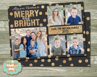 glitter dots christmas card photo christmas holiday card printable christmas card modern holiday card multiple photos costco size - Costco Christmas Card