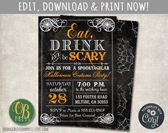 Spooky Vintage Halloween Party Invitation Scary Birthday Costume Instant Access You Edit