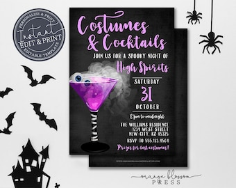 Adult Halloween Party Invitation, Costumes and Cocktails, Spooky Adult Party Invitation, Digital or Printed, Instant Edit & Download