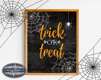 Halloween Wall Art, Trick or Treat Printable, Spider Web Halloween Decoration, Spooky Wall Art, Halloween Party Decoration, INSTANT DOWNLOAD