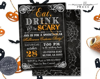 Spooky Vintage Halloween Party Invitation, Costume Party Halloween Invitation, Scary Invite, Digital or Printed, Instant Edit & Download