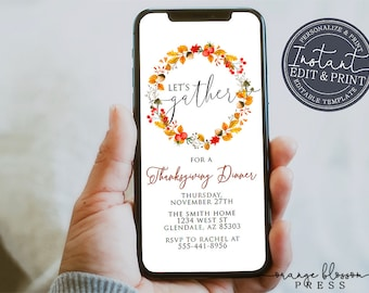 Thanksgiving Dinner Invitation, Send by Phone, E-vite, Text, Email, Virtual Gather Invite, Electronic, sms, Instant Edit & Download