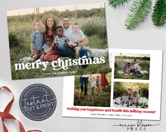 Editable Photo Christmas Card, Holiday Card, Vintage Retro Font, DIY, Personalized, Digital or Printed Options, Instant Edit & Download
