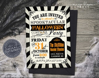 Vintage Halloween Party Invitation, Halloween Birthday Party, Spooky Haunted Mansion Invite, Digital or Printed, Instant Edit & Download