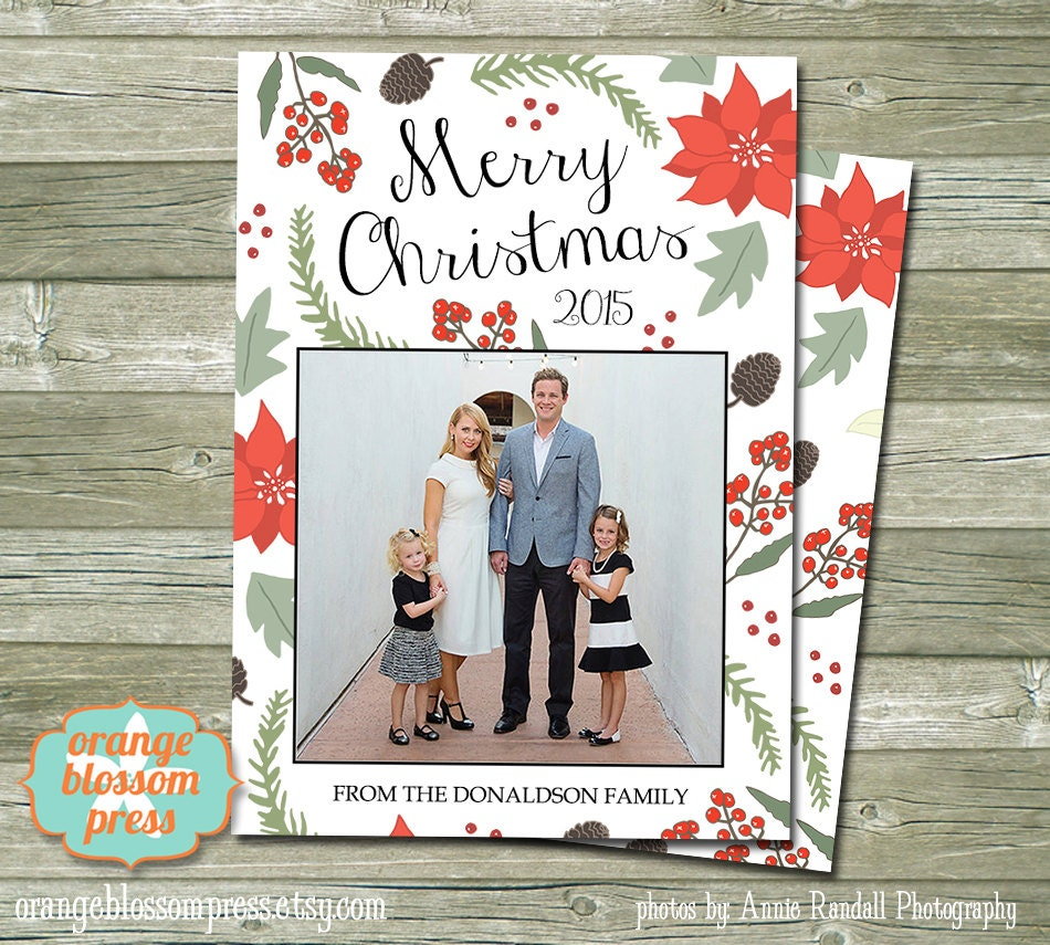Photo Christmas Holiday Card Personalized Christmas Card   Etsy
