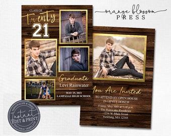 Dark Wood Rustic Graduation Invitation, Personalized Photo Graduation Announcement, Country Graduation, 5 Photos, Instant Edit & Download