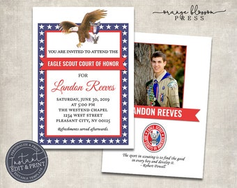 Eagle Scout Court of Honor Invitation, Custom, Personalized Editable, Optional Matching Program, Instant Edit & Download