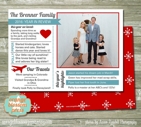 Year In Review Christmas Card Holiday Card Year Summary Etsy