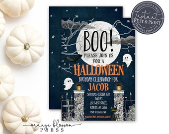 Editable Halloween Birthday Party Invitation, Cute Kids Halloween, E-vite, Digital or Printed, Instant Edit & Download