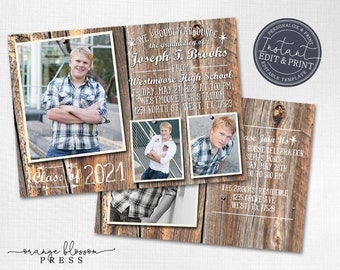 Barn Wood Graduation Announcement, Graduation Photo Collage, Rustic Country Grad, Digital or Printed, Instant Edit & Download