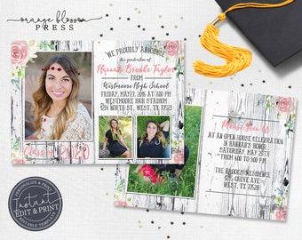 Barn Wood Floral Graduation Announcement, Rustic Photo Graduation, Country Vintage Graduation, Digital or Printed, Instant Edit & Print