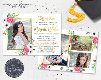 Floral Watercolor Graduation Announcement, Custom Photo Grad Invitation, White Background, Digital or Printed, Instant Download & Edit