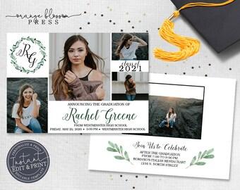 Monogram Graduation Announcement, Custom Photo Graduation Invitation, 5 Photos Modern Grad, Digital or Printed, Instant Edit & Download