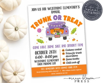 Halloween Trunk or Treat Invitation, Flyer and Poster, Neighborhood Church Trunk or Treat Party, Custom Editable Instant Edit & Download