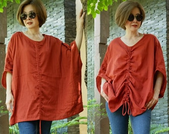 d83efca1ee6 Plus Size Oversize Halfsleeve Loose Chic Casual Summer Boho Dark Terracotta  Orange Double Gauze Cotton Blouse Top Tunic With Ruching SM-724B