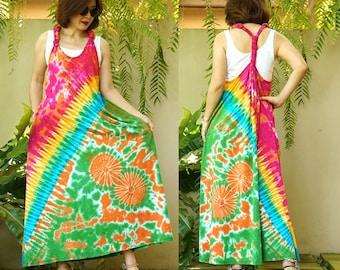 Boho Hippie Tie Dye Y Back Jumper Dress Tie Dye Resort Dress JD1-M Festival Clothing Tie Dye Beach Summer Dress Festival Jumper Dress