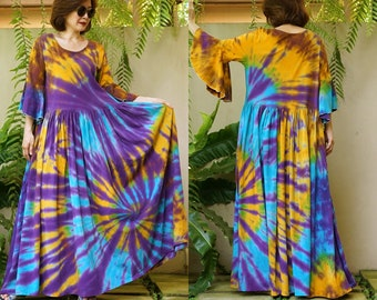 Resort Dress JB3-B Boho Exaggerate Bell Sleeve Gathered Waist Tie Dye Maxi Fit /& Flare Dress Colorful Holiday Dress Festival Clothing