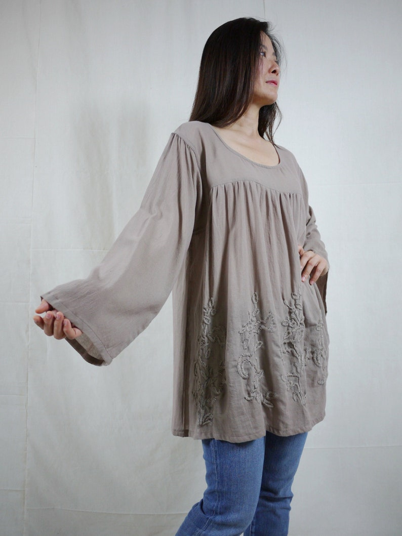 Plus Size Bohemian Long Sleeve Azo Free Color Taupe Light Cotton Blouse With Hand-Embroidered Detail Blossom