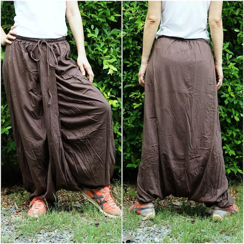 ff3b0ee53a Brown Cotton Jersey Harem Skirt Pants Baggy Pants Boho Pants | Etsy