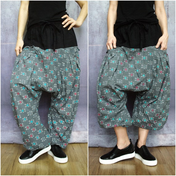 P069 Boho Funky Harem Drop Crotch Teal And Red Dot /& White Stitched Goldenrod Brown Cotton Men Women Freesize Pants With 2 Roomy Pockets
