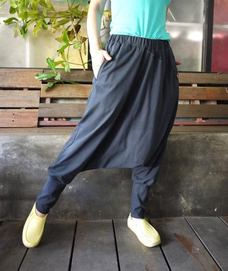 d585b23cfd Women Men Pants Drop Crotch Blueish Dark Charcoal Cotton | Etsy