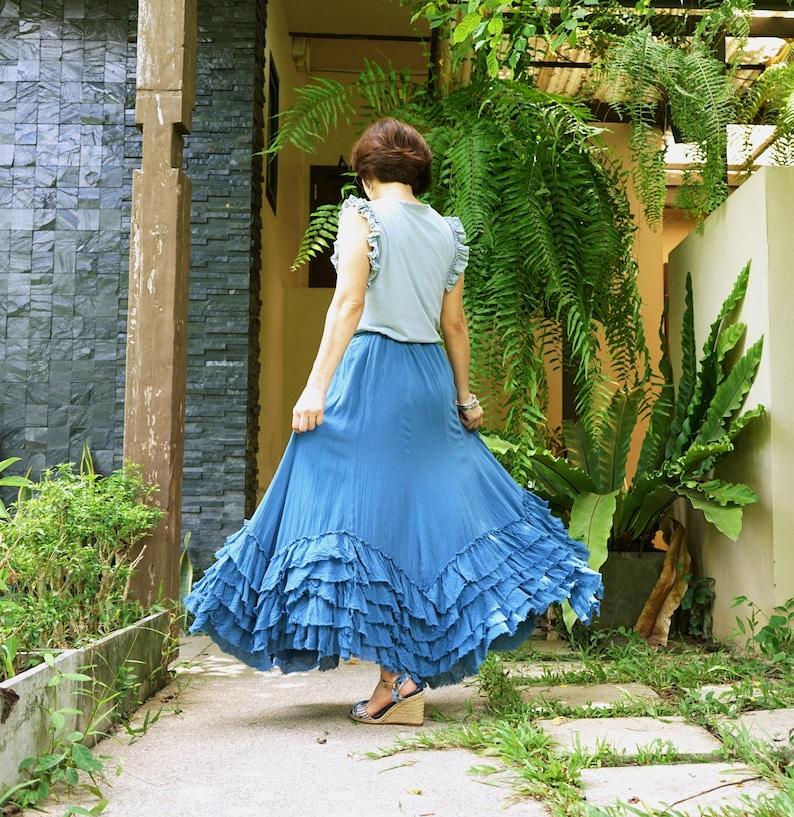 Boho Five Layer Raw Frill Asymmetrical Flare Hem Maxi Skirt Boho Blue Light Cotton Skirt Lagenlook Skirt Hippie Skirt Gypsy Skirt