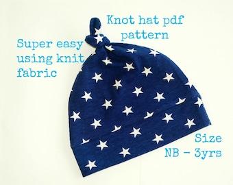 Knot hat pattern (S130), Baby hat sewing pattern, Sewing pdf pattern, Baby girl hat pattern, Baby boy hat pattern