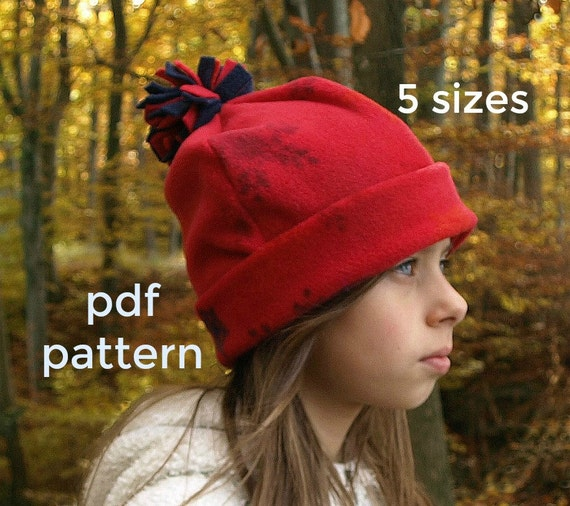 Winter Hat Pattern S123 Beanie Hat pattern Childrens  0e2b39c32d0
