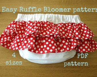 Diaper cover sewing pattern, Ruffle Bloomer pattern (S118), Ruffled diaper cover pattern, Nappy pattern, Baby pattern, pdf sewing pattern