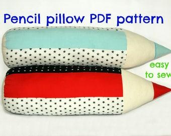 Decorative pillow pattern, Softie pattern,, Pencil pillow sewing pattern (S129), Kids pillow pattern, Stuffed toy pattern