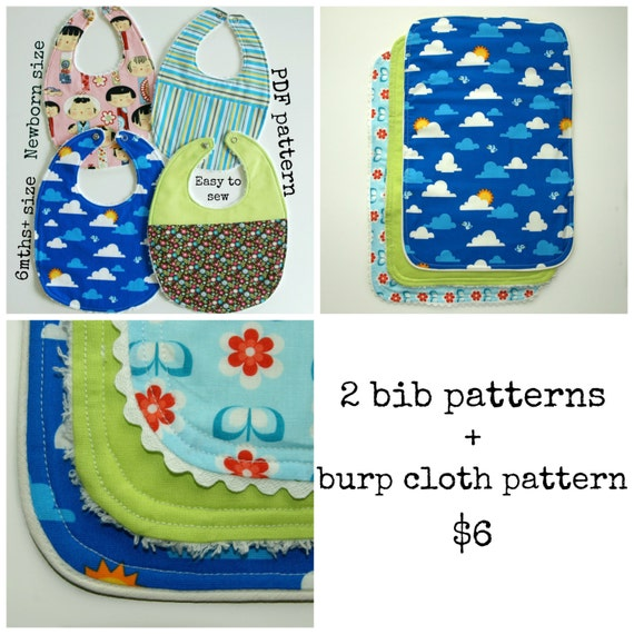 Baby Sewing Patterns Baby Burp Cloth Pattern Baby Patterns Etsy Simple Burp Cloth Pattern
