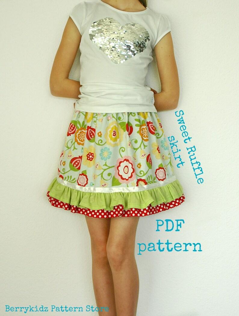 480ce9fcf319b Ruffle skirt pattern S110 Skirt sewing pattern Girls skirt | Etsy