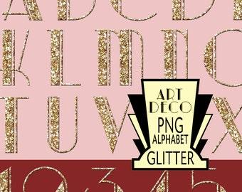 Art Deco PNG Alphabet Gold Glitter digital  scrapbook instant download printable images digital collage sheet f008