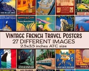 vintage French Travel Posters ATC 2.5x3.5 digital download printable n117